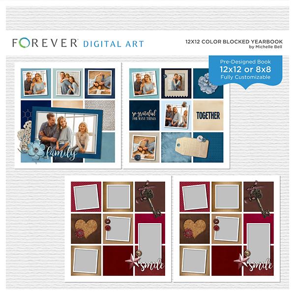 12x12 Color Blocked Yearbook Digital Art - Digital Scrapbooking Kits