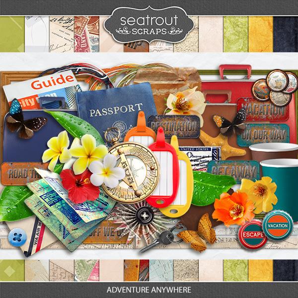 Adventure Anywhere Kit Digital Art - Digital Scrapbooking Kits