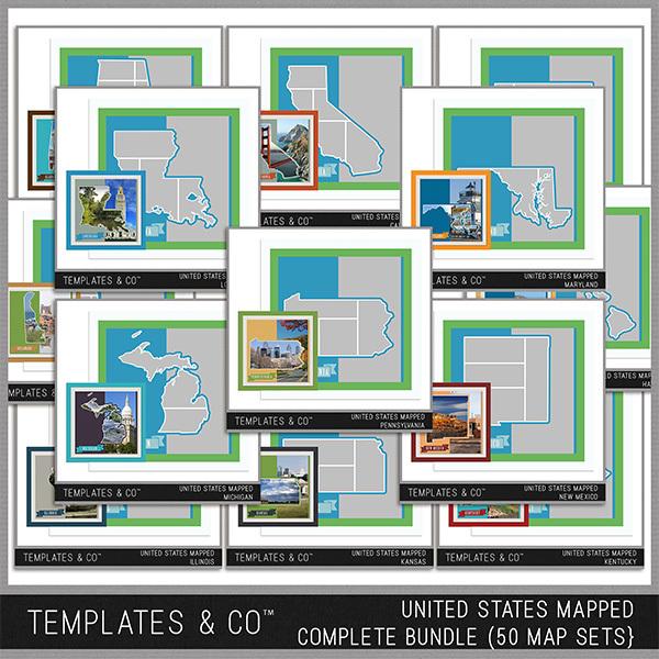 United States Mapped - Complete Bundle Digital Art - Digital Scrapbooking Kits