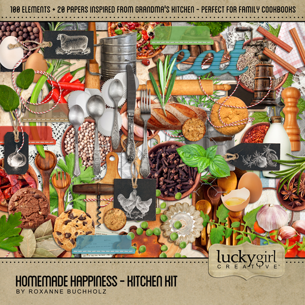 Homemade Happiness - Kitchen Kit Digital Art - Digital Scrapbooking Kits