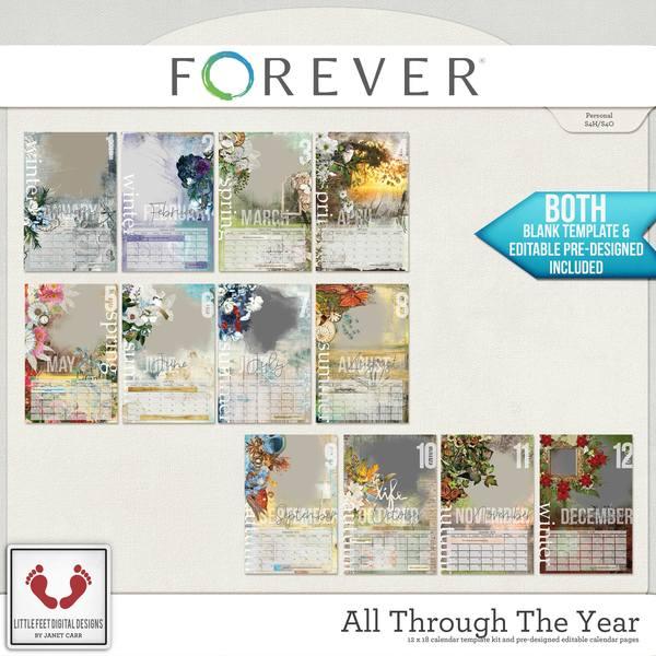 All Through The Year Calendar Bundle Digital Art - Digital Scrapbooking Kits