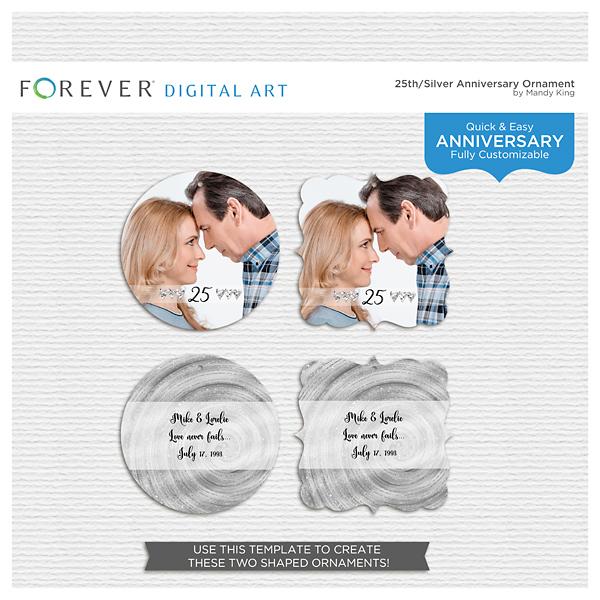 25th-silver Anniversary Ornament Digital Art - Digital Scrapbooking Kits