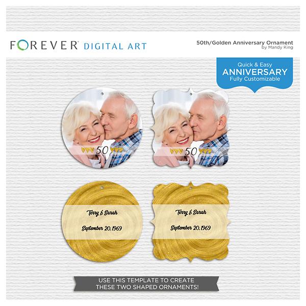 50th-golden Anniversary Ornament Digital Art - Digital Scrapbooking Kits