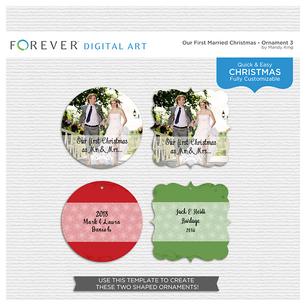 First Married Christmas - Ornament 3 Digital Art - Digital Scrapbooking Kits