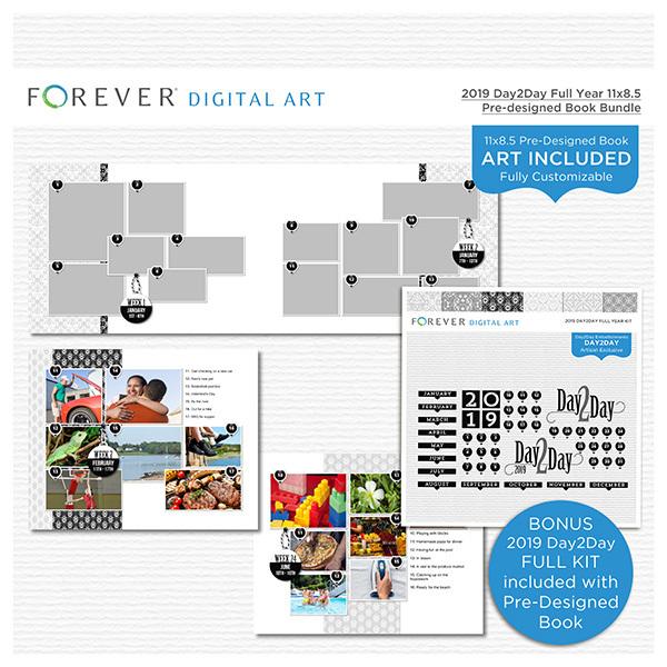 2019 Day2Day Full Year 11x8.5 Pre-designed Book Bundle Digital Art - Digital Scrapbooking Kits