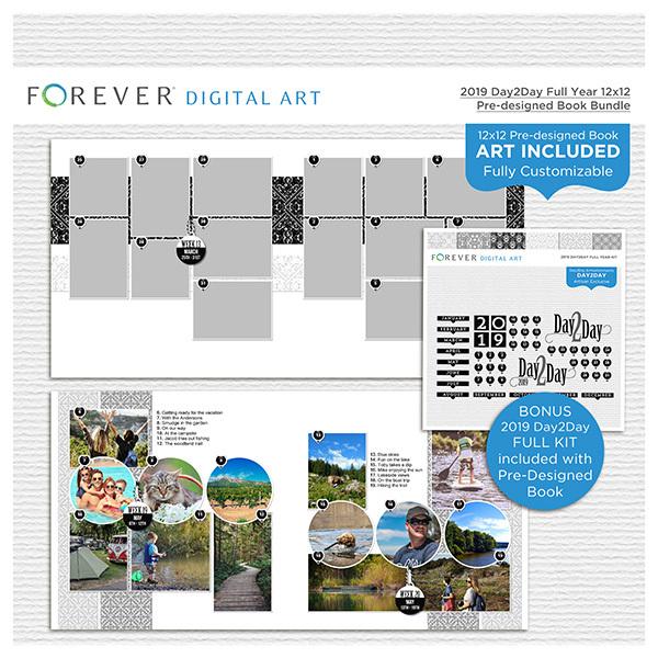 2019 Day2Day Full Year 12x12 Pre-designed Book Bundle Digital Art - Digital Scrapbooking Kits