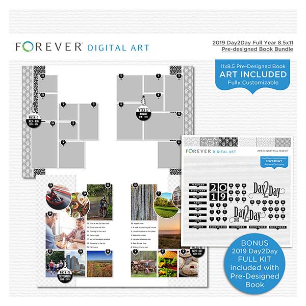 2019 Day2Day Full Year 8.5x11 Pre-designed Book Bundle Digital Art - Digital Scrapbooking Kits
