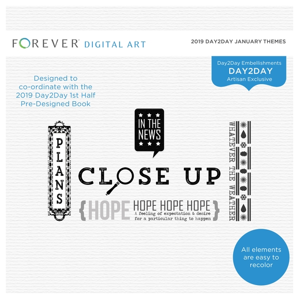 2019 Day2Day January Themes Digital Art - Digital Scrapbooking Kits