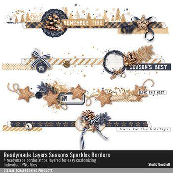Readymade Layers Seasons Sparkles Borders No. 01 Digital Art - Digital Scrapbooking Kits