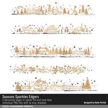 Seasons Sparkles Edgers Digital Art - Digital Scrapbooking Kits