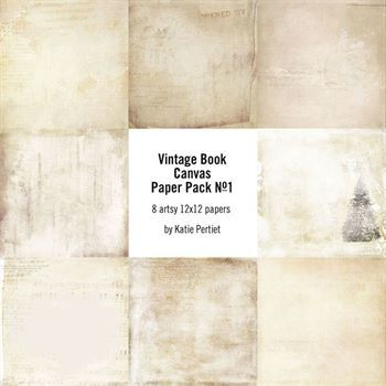 Vintage Book Canvas Paper Pack No. 01 Digital Art - Digital Scrapbooking Kits