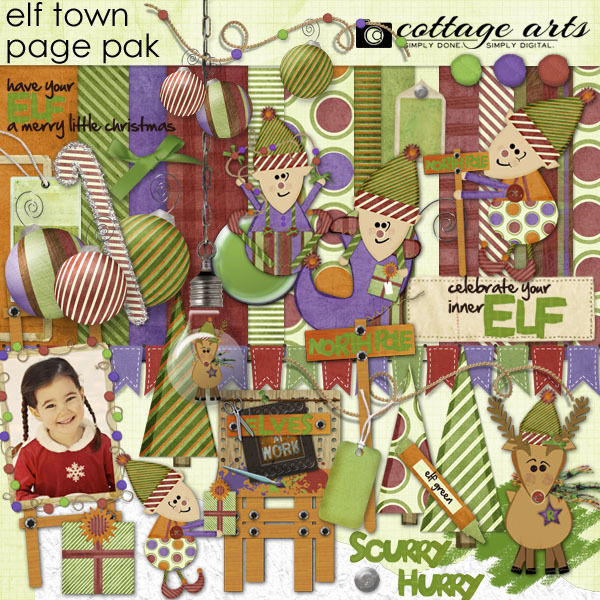Elf Town Page Pak Digital Art - Digital Scrapbooking Kits