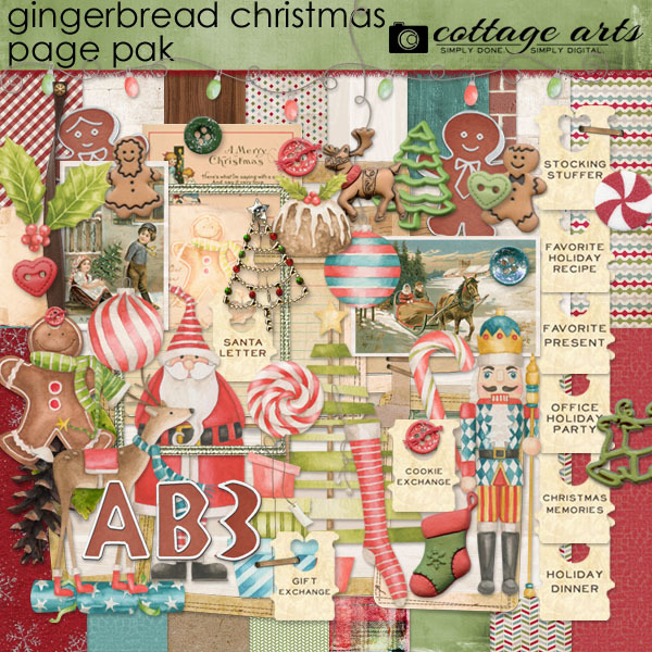Gingerbread Christmas Page Pak Digital Art - Digital Scrapbooking Kits