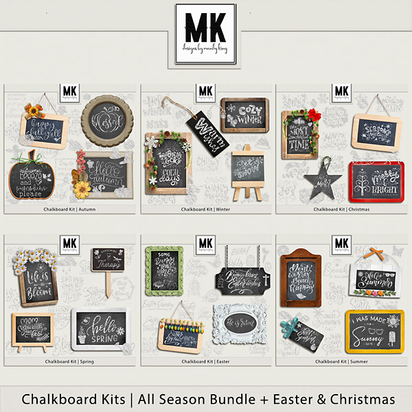 Chalkboard Kit - All Seasons Bundle + Christmas & Easter Digital Art - Digital Scrapbooking Kits