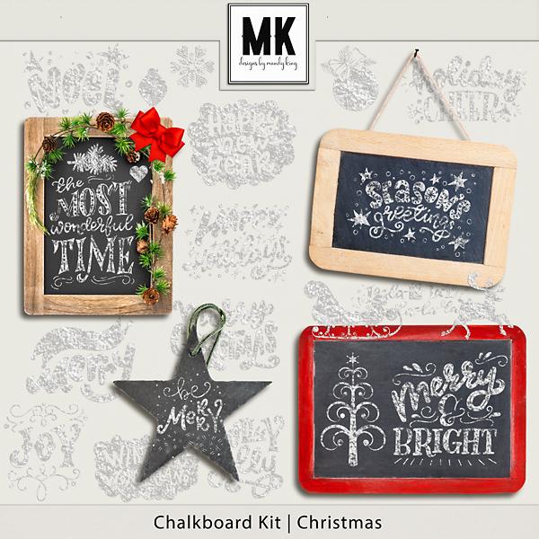 Chalkboard Kit - Christmas Digital Art - Digital Scrapbooking Kits