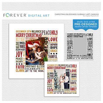 Christmas Blessings Subway Art Canvas Digital Art - Digital Scrapbooking Kits