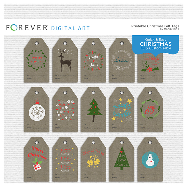 Printable Christmas Tags Digital Art - Digital Scrapbooking Kits