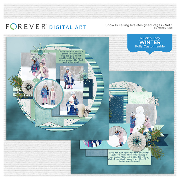 Snow Is Falling Pre-designed Pages - Set 1 Digital Art - Digital Scrapbooking Kits