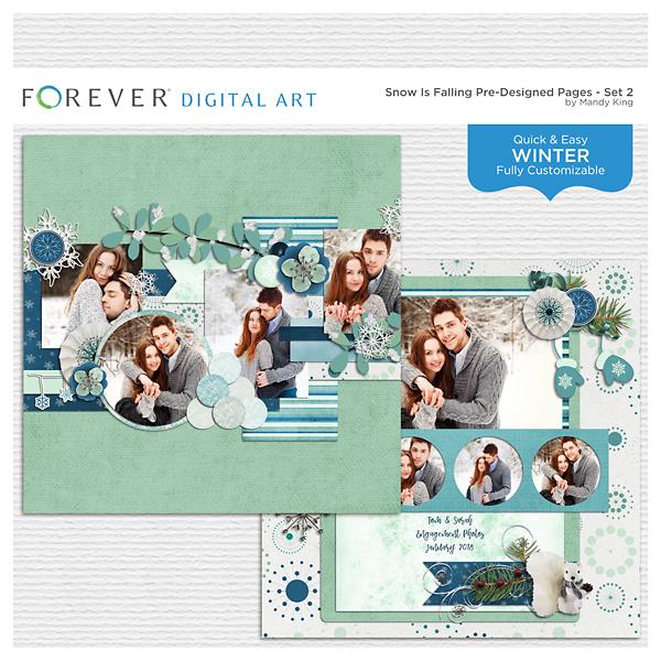 Snow Is Falling Pre-designed Pages - Set 2 Digital Art - Digital Scrapbooking Kits