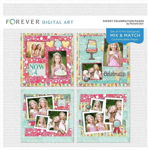 Sweet Celebration Pages Digital Art - Digital Scrapbooking Kits