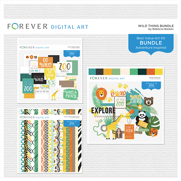 Wild Thing Bundle Digital Art - Digital Scrapbooking Kits