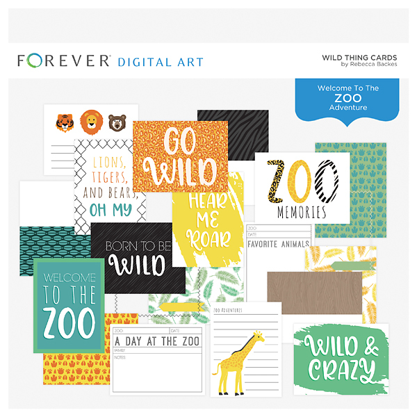 Wild Thing Cards Digital Art - Digital Scrapbooking Kits