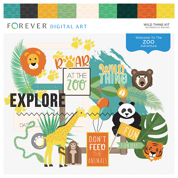 Wild Thing Kit Digital Art - Digital Scrapbooking Kits
