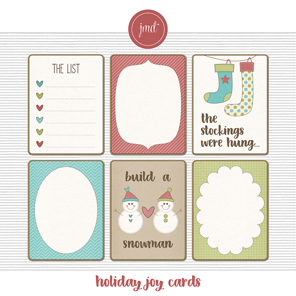 Holiday Joy Cards Digital Art - Digital Scrapbooking Kits