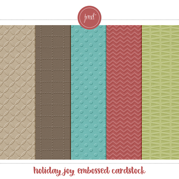 Holiday Joy Embossed Cardstock Digital Art - Digital Scrapbooking Kits