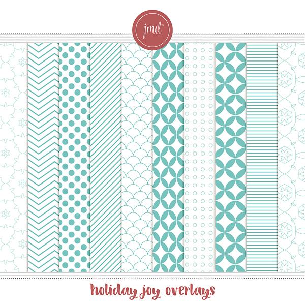Holiday Joy Overlays Digital Art - Digital Scrapbooking Kits