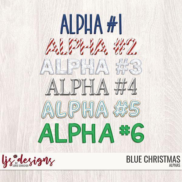 Blue Christmas Alphas Digital Art - Digital Scrapbooking Kits