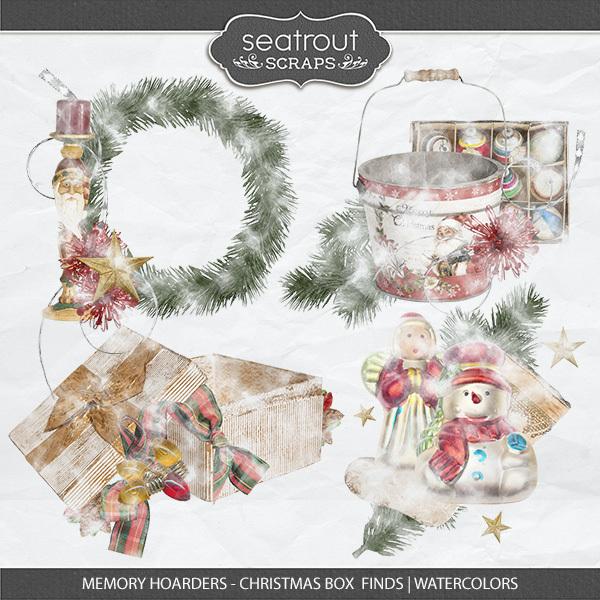 Memory Hoarders Christmas Box Finds - Watercolors Digital Art - Digital Scrapbooking Kits