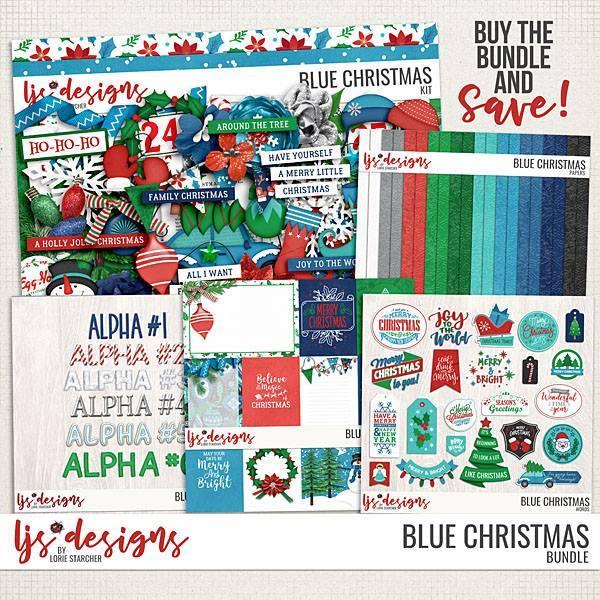 Blue Christmas Bundle Digital Art - Digital Scrapbooking Kits
