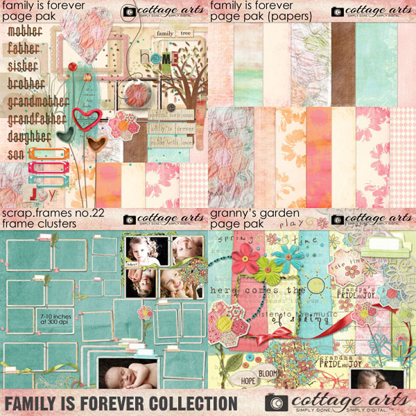 Family Is Forever Collection Digital Art - Digital Scrapbooking Kits