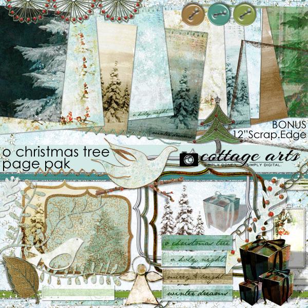 O Christmas Tree Page Pak Digital Art - Digital Scrapbooking Kits