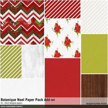 Botanique Noel Add-on Paper Pack Digital Art - Digital Scrapbooking Kits