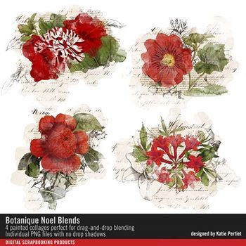 Botanique Noel Blends Digital Art - Digital Scrapbooking Kits
