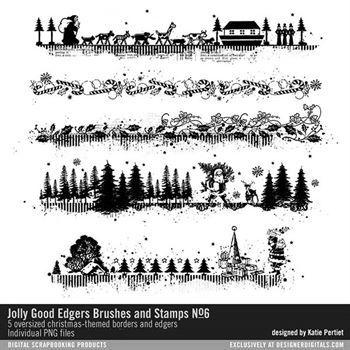 Jolly Good Edgers Brushes And Stamps No. 06 Digital Art - Digital Scrapbooking Kits