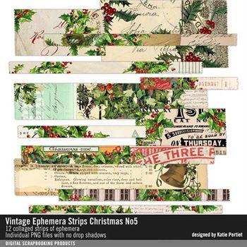 Vintage Ephemera Strips No. 05 Christmas Digital Art - Digital Scrapbooking Kits