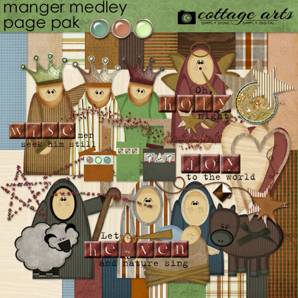 Manger Medley Page Pak Digital Art - Digital Scrapbooking Kits