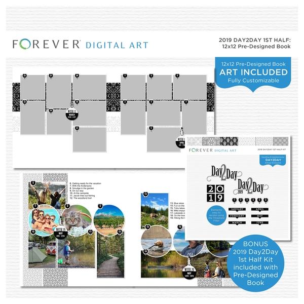 2019 Day2Day 1st Half 12x12 Pre-designed Book Digital Art - Digital Scrapbooking Kits