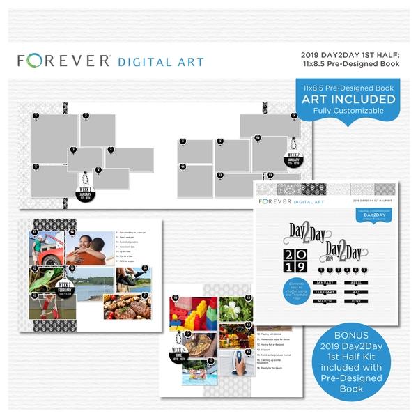 2019 Day2Day 1st Half Pre-designed Book 11x8.5 Digital Art - Digital Scrapbooking Kits