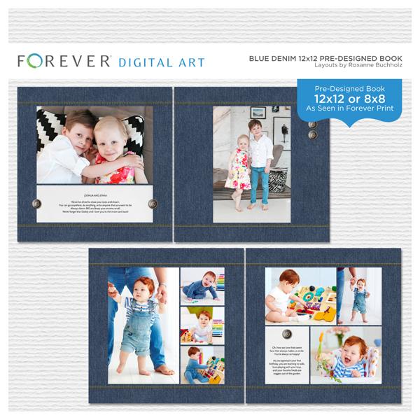 Blue Denim 12x12 Pre-designed Book Digital Art - Digital Scrapbooking Kits