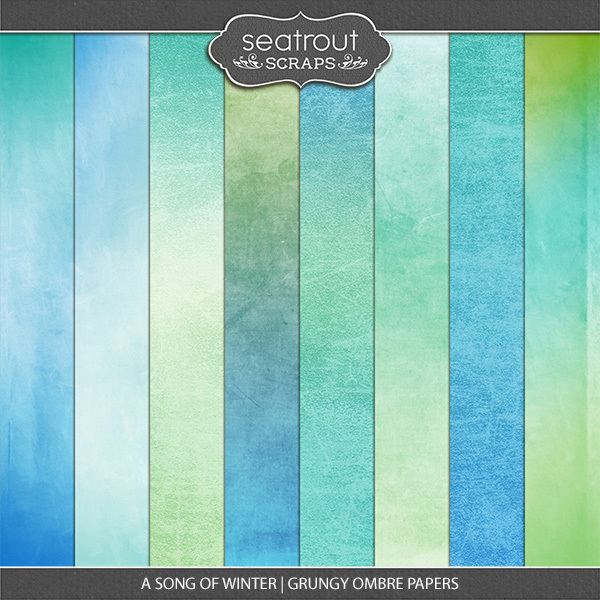 A Song Of Winter Grungy Ombre Papers Digital Art - Digital Scrapbooking Kits