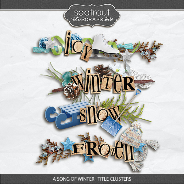 A Song Of Winter Title Clusters Digital Art - Digital Scrapbooking Kits