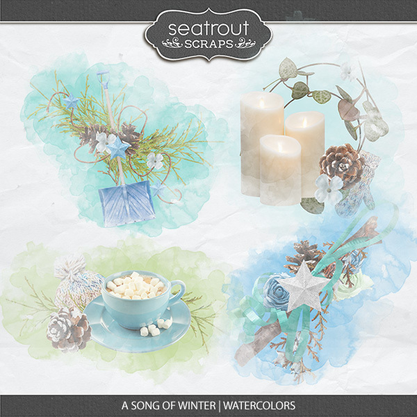 A Song Of Winter Watercolors Digital Art - Digital Scrapbooking Kits
