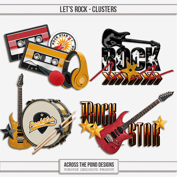 Let's Rock - Clusters Digital Art - Digital Scrapbooking Kits