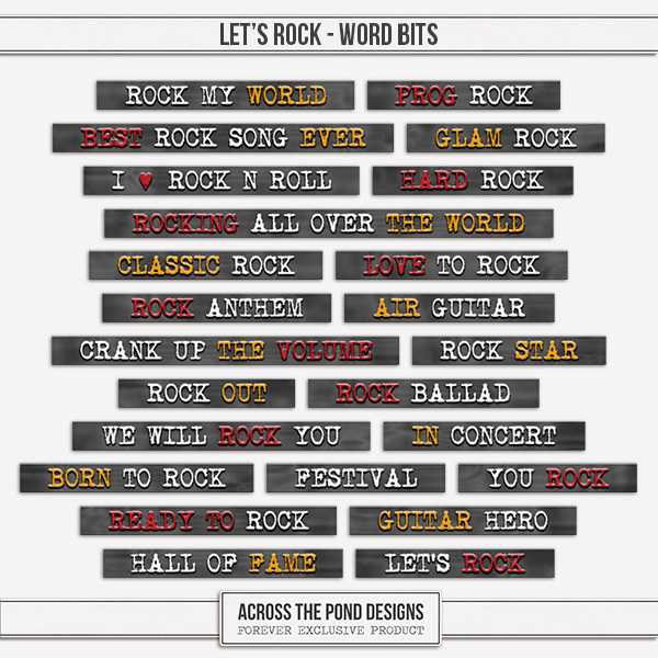 Let's Rock - Word Bits Digital Art - Digital Scrapbooking Kits