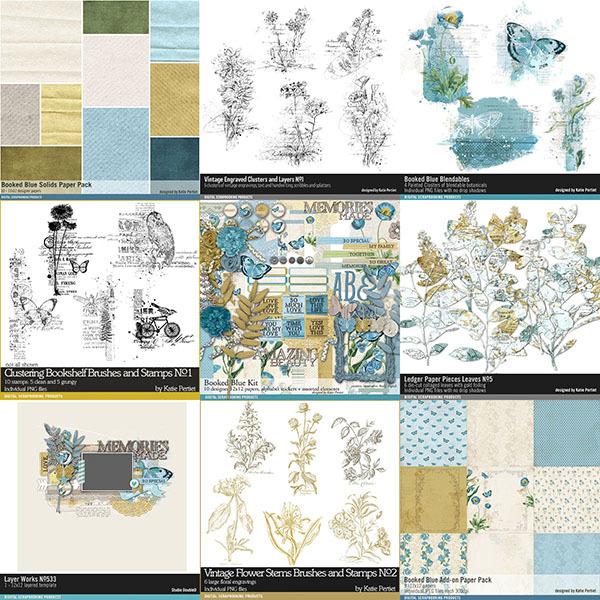 Booked Blue Botanical Scrapbooking Bundle Digital Art - Digital Scrapbooking Kits