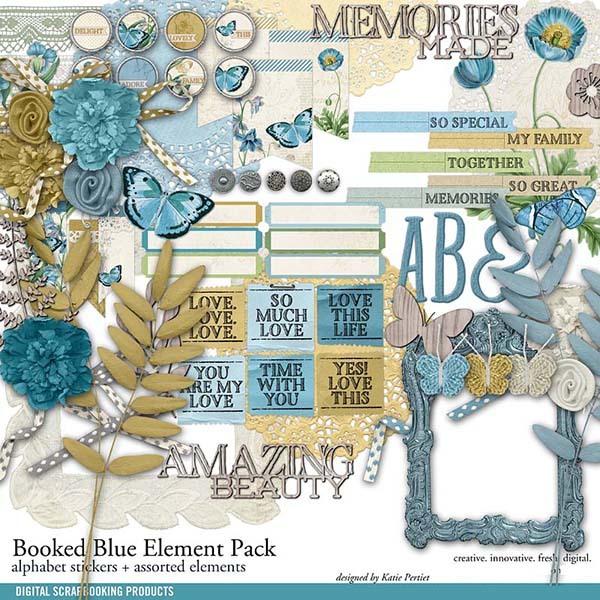 Booked Blue Element Pack Digital Art - Digital Scrapbooking Kits